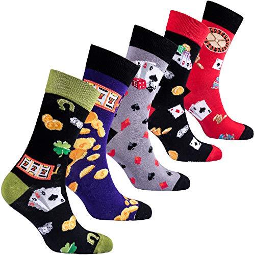 Socks n Socks-Men 5 pk Color Cotton Novelty Roulette Gamble Cards Sock Gift Box