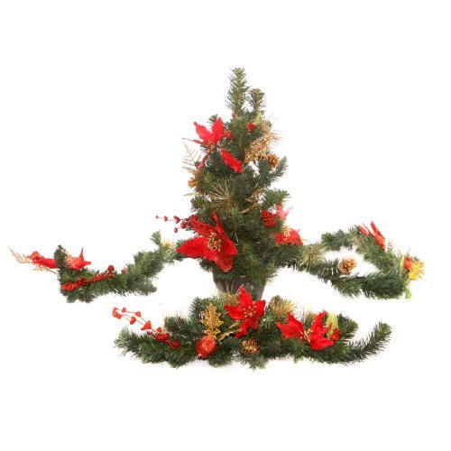 WeRChristmas Decoration Pack with 6 ft Garland and 2 ft Christmas Tree Arch Swag - Red/Gold by WeRChristmas