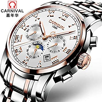BIWNXAQ Reloj Digital Romano Reloj de Hombre Reloj mecánico Automático Impermeable Luminoso Dial Grande Doble Calendario Marea, Rosa Dorado Blanco: ...