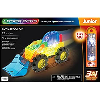 Laser Pegs Construction 3-in-1 Building Set; The First Lighted Construction Toy to Ignite Your Child's Creativity; It's Your Imagination, Light It Up
