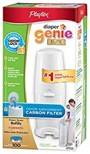 Playtex Genie Elite Pail System Diaper with Odor Lock Carbon Filter, 100 Count