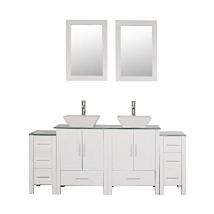 Homecart 72 Double Sink Bathroom Vanity Cabinet Combo Glass