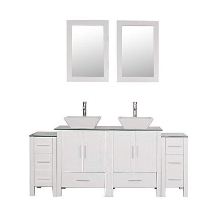 Homecart 72 Double Sink Bathroom Vanity Cabinet Combo Glass Top