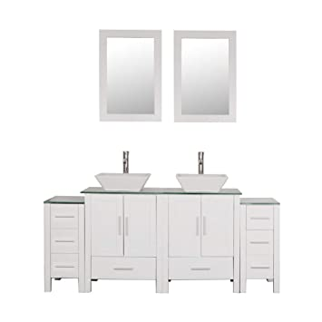 Homecart 72 Double Sink Bathroom Vanity Cabinet Combo Glass Top