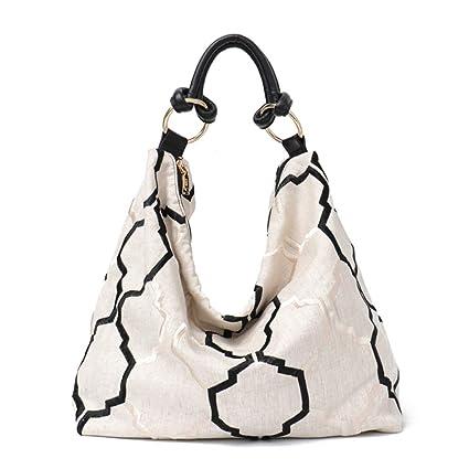 e278dc840c34 Amazon.com  BiAZbag Shoulder Bags for Women Linen Fabric Tote Bag ...
