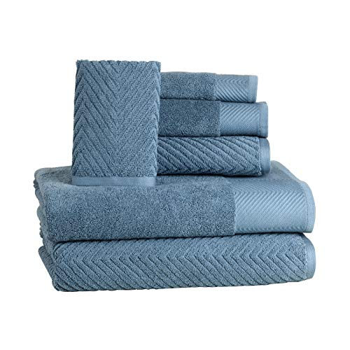 6 Piece Premium Cotton Bath Towels Set - 2 Bath Towels, 2 Hand Towels, 2 Washcloths Machine Washable Super Absorbent Hotel Spa Quality Luxury Towel Gift Sets Chevron Towel Set - Blue Stone by ISABELLA CROMWELL