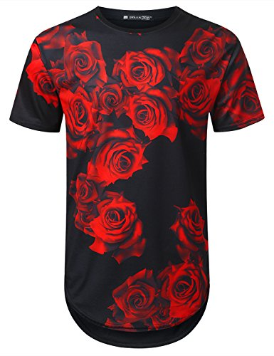 URBANTOPS Mens Hipster Hip Hop Red Rose Floral Longline T-Shirt Black, XL