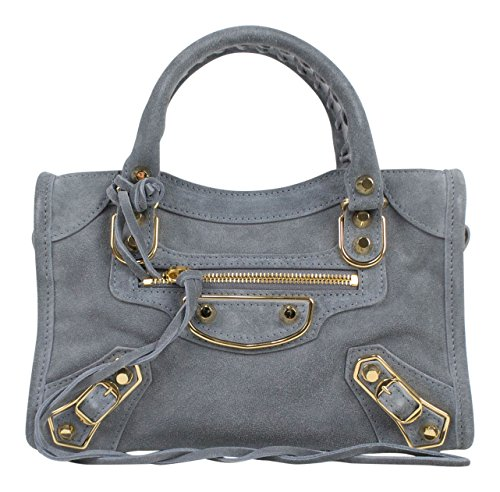(Balenciaga Blue Suede Leather Metallic Mini City AJ Shoulder)
