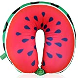 micro bead therapy pillow - MDRN Life Neck Pillow for Kids & Adults - Microbead Travel Neck Pillow for Sleeping and Cervical Support - Watermelon