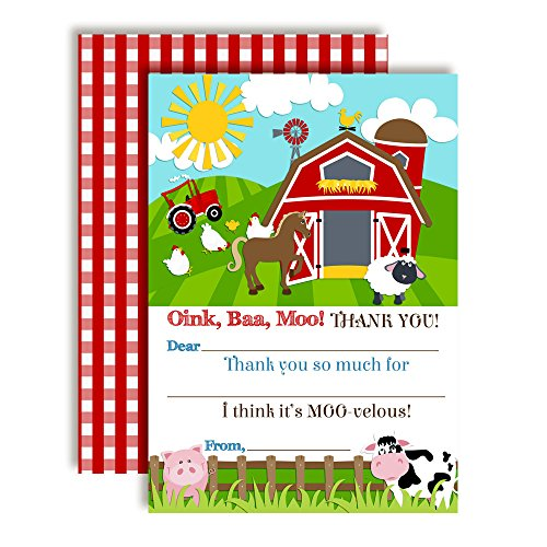 - Barnyard Bash Farm and Barn Themed Thank You Notes for Kids, Ten 4