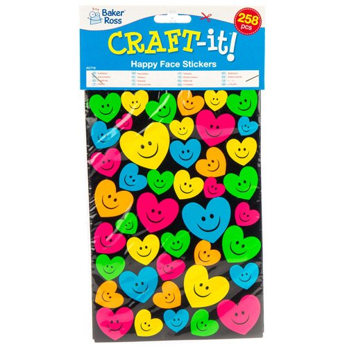 Baker Ross Neon Happy//Smiley Face Stickers for Children to Decorate and Personalize Crafts /& Spring Cards Scrapbooking Embellishment for Kids Pack of 258
