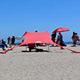 SunBear Shade - Large - by The SunBear Co. - eco friendly beach tent made in The USA (Red, Large)
