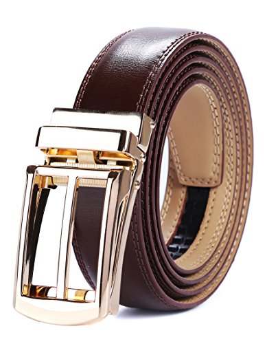 - Tonywell Mens Leather Ratchet Belts with New Style Open Buckle Perfect Fit Dress Belt 30mm Wide (One Size:32