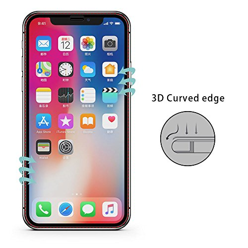 VRURC iPhone X Screen Protector, 5D Curved 9H Hardness Tempered Glass Screen Protector for iPhone X, HD Full Coverage iPhone X/10 Glass Protective Film [Bubble Free] [3D Touch]–Black Photo #6