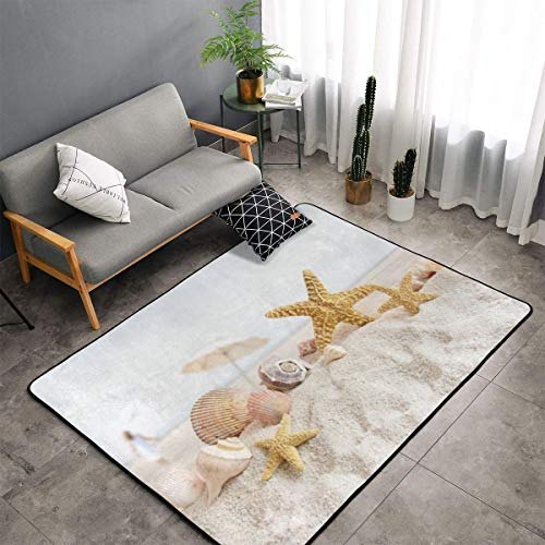 Starfish Conch Seashell Area Rug, Bedroom Living Room Kitchen Rug, Doormat Floor Mat Standing Mat, Children Play Rug Carpet Bathroom Rug Mat, Throw Rugs Carpet Yoga Mat