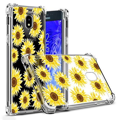 Osophter Compatible with Samsung Galaxy J3 2018 Flower Case,Samsung J3 Star Floral Case J3 Achieve/J3 Orbit Case Flexible TPU Rubber Soft Silicone Galaxy J3 V 3rd(Yellow-Sun Flower) (Sun Flower Case)