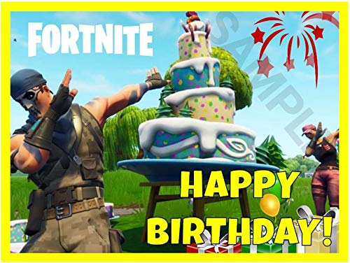 Fortnite Edible Cake Image Topper (1/4 Sheet, 7.5'' x 10'') - HAPPY BIRTHDAY ONLY by Edible Topper Designs