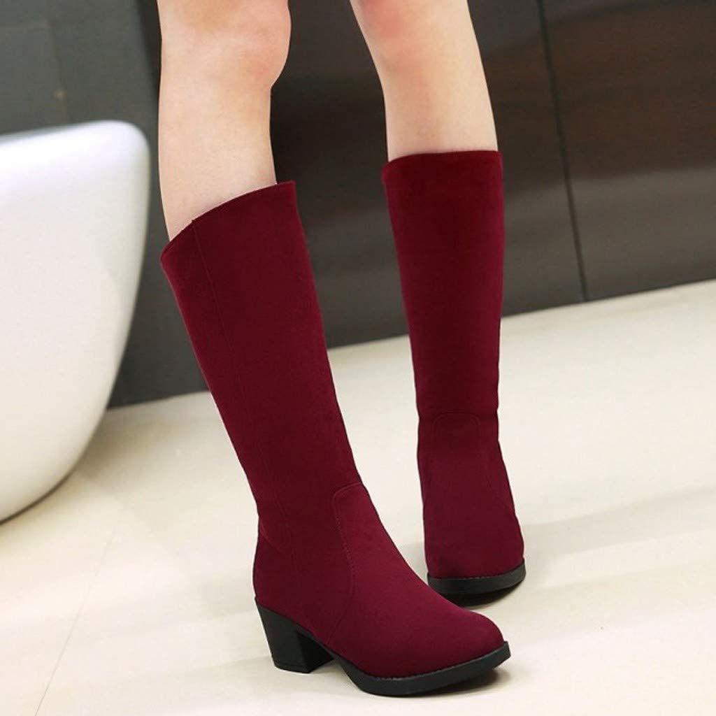 ZOMUSAR Women Winter Warm Snow Boots Thick High Heel Boots Large Size Student Shoe Boots