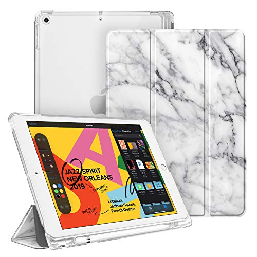 """Fintie Case with Pencil Holder for iPad 7th Generation 10.2 Inch 2019 - Slim Shell Lightweight Cover with Translucent Frosted Stand Hard Back, Supports Auto Wake/Sleep for iPad 10.2"""", Marble"""
