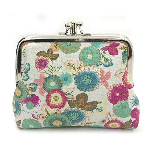 Cute Floral Buckle Coin Purses Vintage Pouch Kiss-lock Change Purse Wallets (17) ()