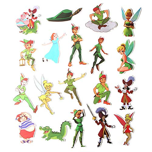 Cartoon Movie Peter Pan Themed 19 Piece Sticker Decal Set for Kids Adults - Laptop Motorcycle Skateboard Decals
