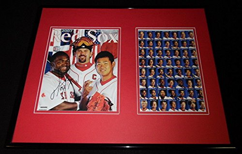 David Ortiz Signed Framed 16x20 Red Sox 2007 Champs Yearbook Display