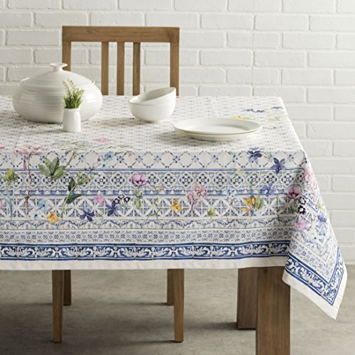 Maison d' Hermine Faïence 100% Cotton Tablecloth 60 - Inch by 60 - Inch - Italian Pottery