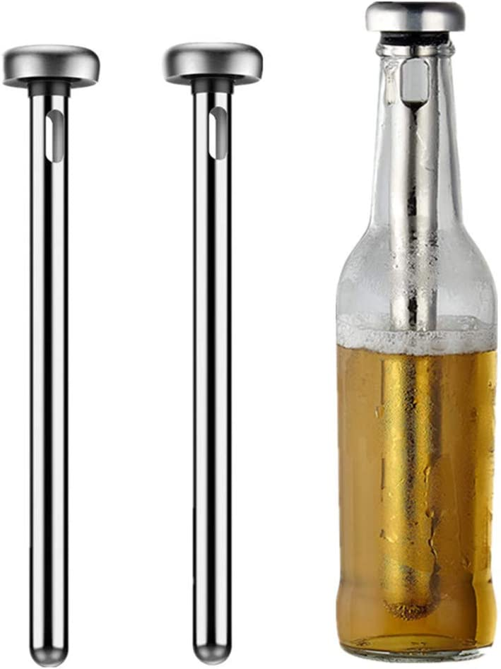 2 pieces Beer Chillers - Gift Set for Men - Stainless Steel Drink Chiller Sticks Keep Bottled Drinks Cold - Cooler Bar & Party Accessory & Ale Chilling