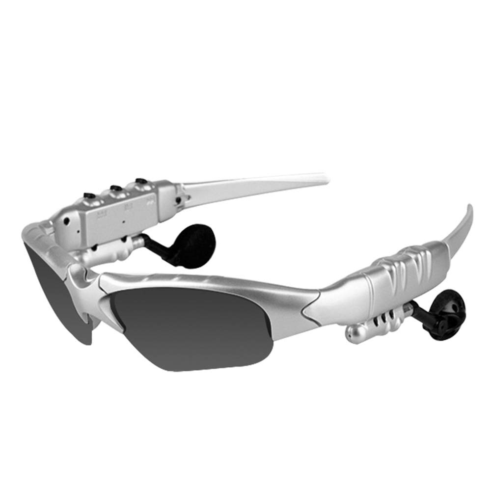 ZzWEI Smart Sports Glasses, Bluetooth 4.1 Stereo Can Talk, Listen to Music, Headphones, Polarized Lenses, Sunglasses, Ultra-Light and Ultra-Thin,Silver