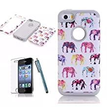 [iPhone 5C Phone Case] Lantier Elephant 3in1 Heavy Duty Painting Design Slim Fit Hybrid TUFF Impact Shockproof Case Hard Silicone Gel Cover for iPhone 5C with Screen Protector and Stylus Pen White