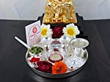 GoldGiftIdeas 7PS Plus (7 Inch) Silver Plated Pooja Thali Set with Free German Silver Coin, Classic Occasional Gift, Pooja Thali Decorative, Wedding Return Gift