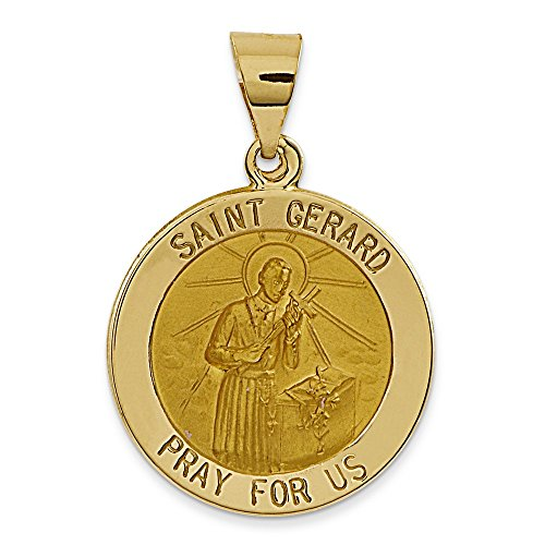 Satiné poli 14 carats et St. Gerard Médaille-JewelryWeb