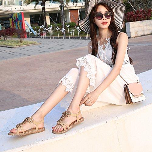 Post Fleur Boho Sandales Peep T Toe Espoir Sandales Chaussures String Élastique Strass Plage Plates Sandales Femmes Abricot sangle w8OWqYC
