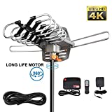 Outdoor TV Antenna,HDTV Antenna Amplified Digital Outdoor Antenna 150 Mile with 360 Degree Rotation for 2 TVs Support - UHF/VHF/1080P Channels Wireless Remote Control - 33' Coax Cable