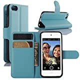 Fettion iPod Touch 5 / 6 Gen Cases, Premium PU Leather Wallet Flip Case Cover with Stand Card Holder for Apple iPod Touch 5th / 6th Generation 2015 Released (Wallet - Blue)