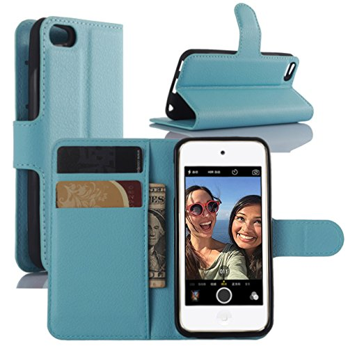 Fettion iPod Touch 5 / 6 Gen Cases, Premium PU Leather Wallet Flip Case Cover with Stand Card Holder for Apple iPod Touch 5th / 6th Generation 2015 Released (Wallet - Sky Blue) ()