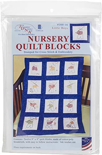 Jack Dempsey Stamped White Nursery Quilt Blocks 9
