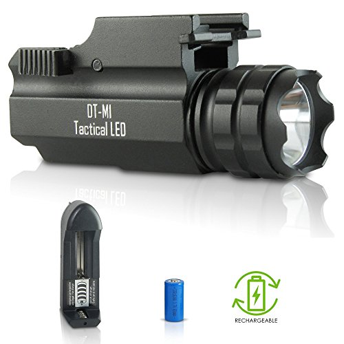 DefendTek Rechargable Tactical LED Rail Mounted Gun Flashlight with Quick Release 300 Lumens DT-M1 Model
