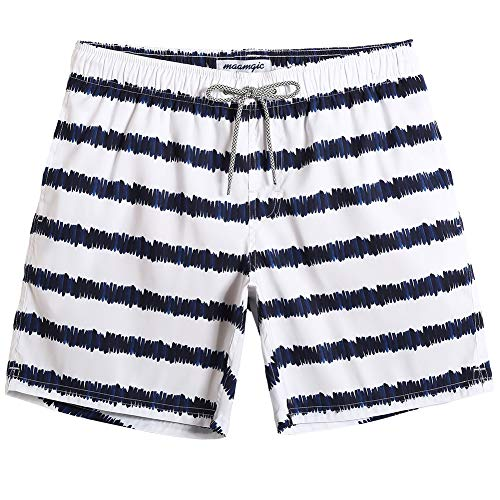MaaMgic Mens Summer Quick Dry Beachwear Swim Trunks Swim Suit with Mesh Lining Navy and ()