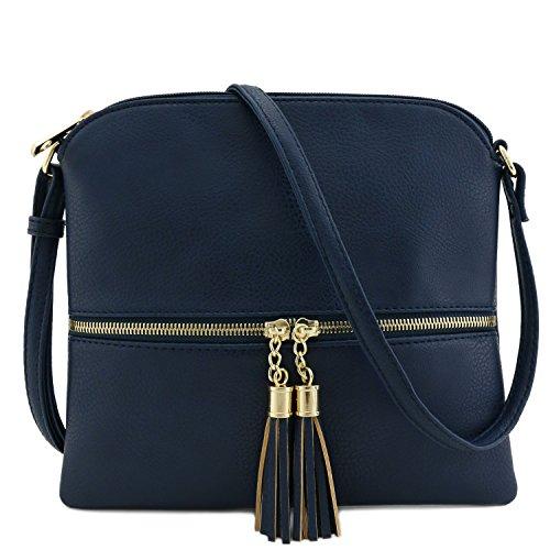Tassel Accent Medium Crossbody Bag Navy (Cross Body Blue Bag)