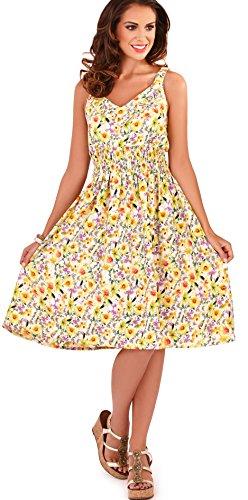 Sommerkleid, Knielänge, gerüscht, Gelb