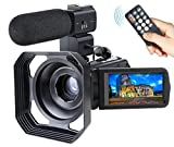 Video Camcorder,Ansteker Remote Control WiFi Video Camera Full HD 1080P 24MP 30FPS Video Camcorder Portable Digital Video Camera Recorder with External Microphone and Lens Hood