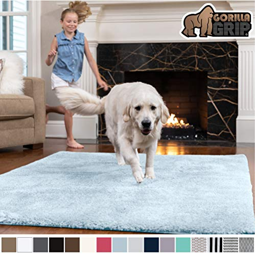 GORILLA GRIP Original Faux-Chinchilla Area Rug, 6x9 Feet, Super Soft and Cozy High Pile Washable Carpet, Modern Rugs for Floor, Luxury Shaggy Carpets for Home, Nursery, Bed and Living Room, Light Blue