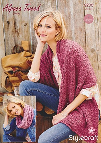 52dcb590b Stylecraft Ladies Wrap   Scarf Alpaca Tweed Knitting Pattern 9208 Chunky   Amazon.co.uk  Kitchen   Home