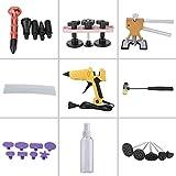 Qiilu Car Body Dent Repair Tools Slide Hammer Tools Paintless Dent Puller Removal kit & Bridge Glue Puller Pulling Tabs