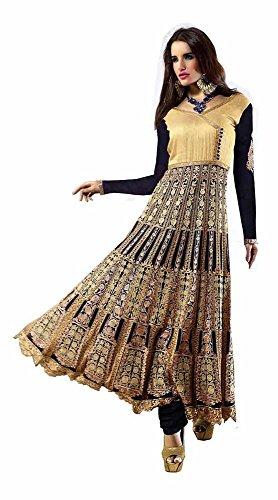 EthnicDresses Women's Eid Evening Partywear Suit Salwar Kameez black Gold