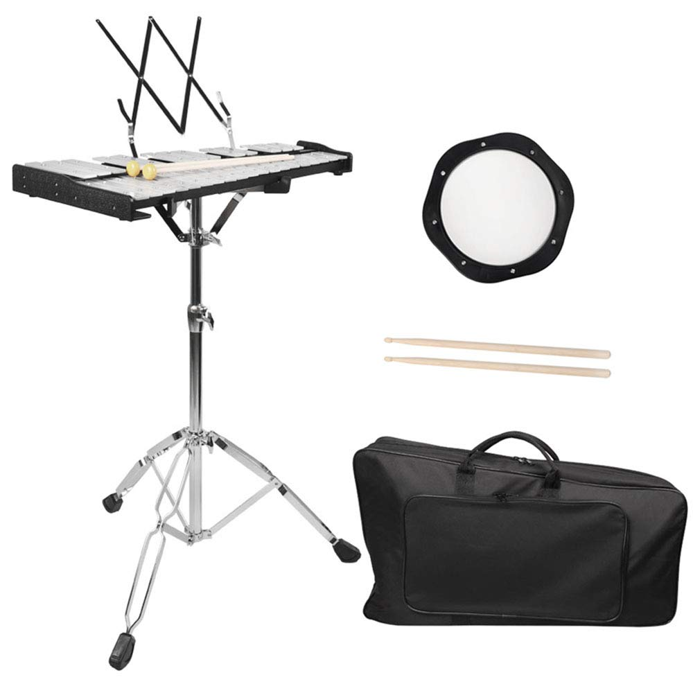 Mr.Power Glockenspiel Bell Kit 32 Notes with Practice Pad, Mallets, Sticks and Bag