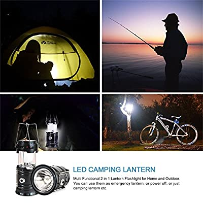 SeddyTech Solar Powered Lantern Flashlight, Rechargeable Camping Lantern Led Collapsible, Bright Lights for Emergency, Hurricane, Power Outage(4 Packs, Black)