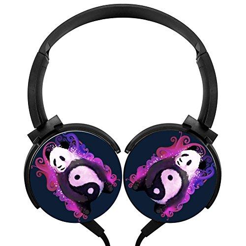 (MagicQ Magical Yin Yang Panda Stereo Deep Bass Wired Headphones Earphones)