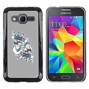 LECELL--Funda protectora / Cubierta / Piel For Samsung Galaxy Core Prime SM-G360 -- King Hearts Cards Poker Gambling --
